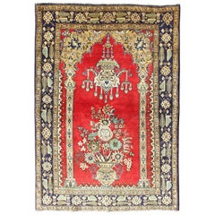 Vintage Persian Qum Prayer Rug in Bright Red with Floral Bouquet Chandelier