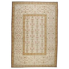 Gold and Beige Floral Rug