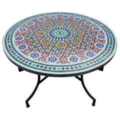 Moroccan Mosaic Table, Multi-Color Beldia Zina