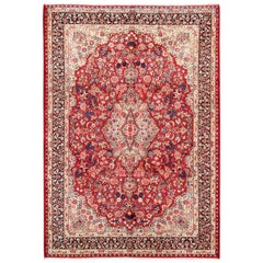 Vintage Persian Mashad Rug with Ornate Floral Medallion Design in Red and Cream
