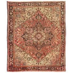 Ornate and Intricate Geometric Medallion Vintage Persian Heriz Rug