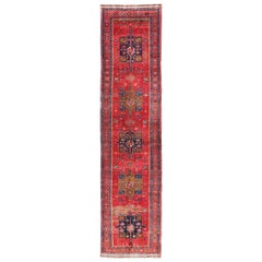 Vintage Persian Heriz Runner with Five Red and Blue Geometric Medallions