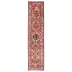 Multicolored Geometric Persian Heriz Runner with Six Medallions