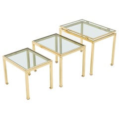 Brass Nesting Table Guy Lefevre for Maison Jansen, 1970s