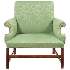 George III Mahogany and Green Brocade Upholstered Gainsborough Type Love Seat