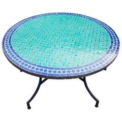 Round Moroccan Mosaic Table, Blue / Aqua