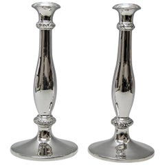 Silver 13 Lot Two Candlesticks Biedermeier Christian Sander, Vienna Austria 1846