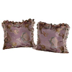 Pair Pillows Made of French Silk Brocade with Scalamandre Silk Tassel Trimming