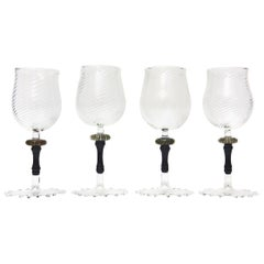 Set of 4 Hand Blown Murano Glass Wine Goblets with Gold Aventurine/ Barware