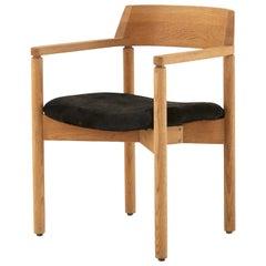 Midcentury Stripped Wood and Black Hide Armchair