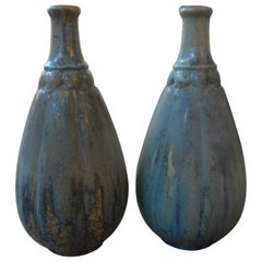 Pair of French Glazed Pottery Vases, circa 1920