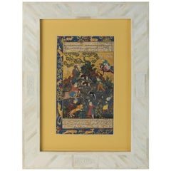 Indian Mughal Miniature Painting in Vizagapatam Bone Inlay Frame