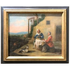 19th Century French Oil Painting, Landscape With Peasants