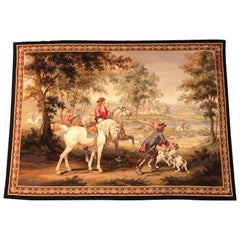 Late 19th Century French Handwoven Aubusson Hunt Tapestry with Horsemen and Dogs