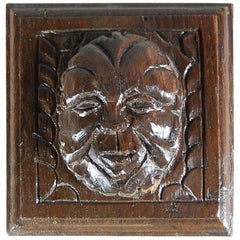 Early 18th Century Continental Green Man Relief Carving