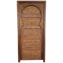 Single Panel Moroccan Carved Wooden Door