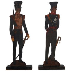 Pair of Painted Military Silhouette Soldiers