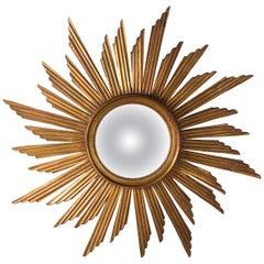 1920s Carved Wooden Sunburst Convex Mirror