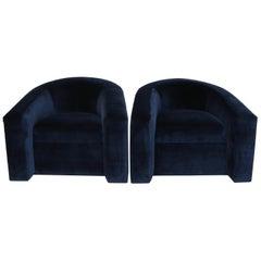 Pair of Velvet Tub Chairs