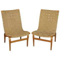 """Eva"" Lounge Chairs by Bruno Mathsson, circa 1940 Hand Signed ""BM 41"""