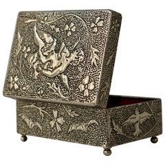 France Art Nouveau Silvered Jewelry Box Casket, circa 1900