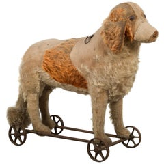 Antique Steiff Mohair Dog Pull Toy, circa 1910