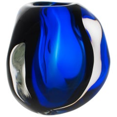 Modern Glass Vase, Twilight Triangle Ball by Siemon & Salazar Made to Order
