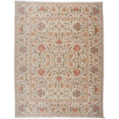 Red, Gold and Silver Floral Pattern Rug
