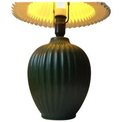 Fluted Green Ceramic Table Lamp by Michael Andersen, 1930s