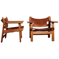 Pair of Borge Mogensen Spanish Chairs, Denmark, 1950s-1960s
