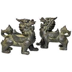 Chinese Bronze Statues Pi Xiu Lions, Pair