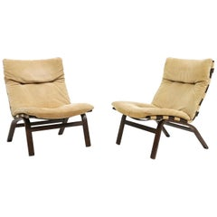 Danish Pair of Relling Style Easy Chairs in Beige Suede by Farstrup