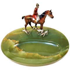 Austrian Cold Painted Bronze Fox Hunting Group with Green Onyx Base