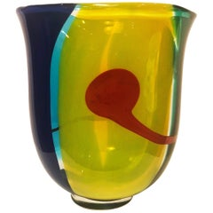 Colored Glass Vase by Berit Johansson for Salviati, Italy, 1993