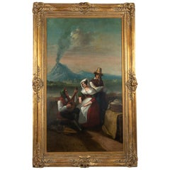 Large Original Antique 19th Century Oil Painting in Gilt Frame