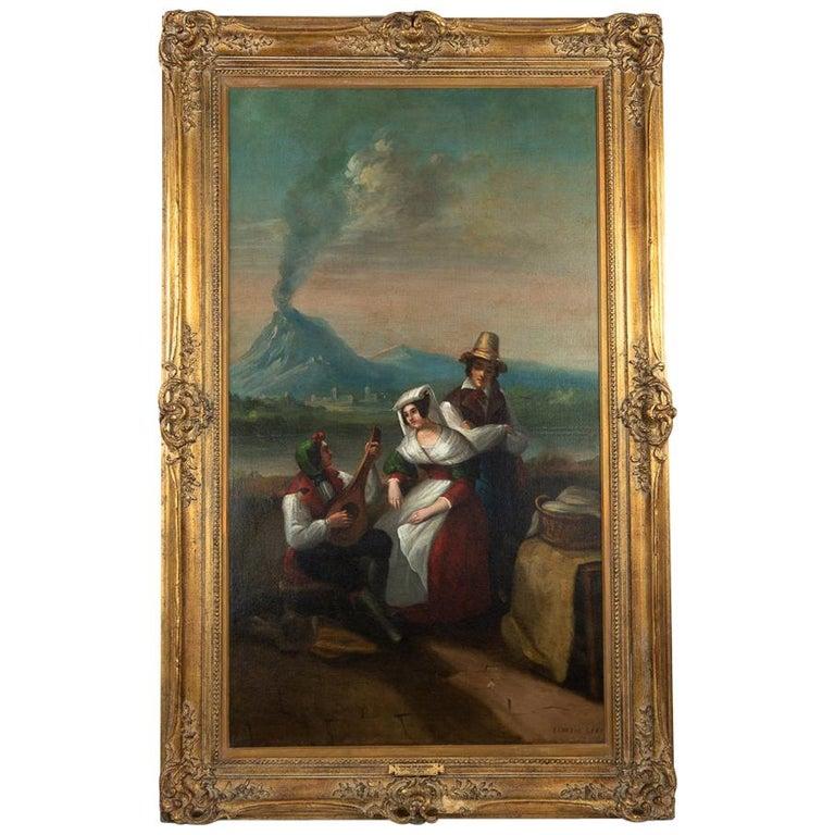 Large Original Antique 19th Century Oil Painting In Gilt