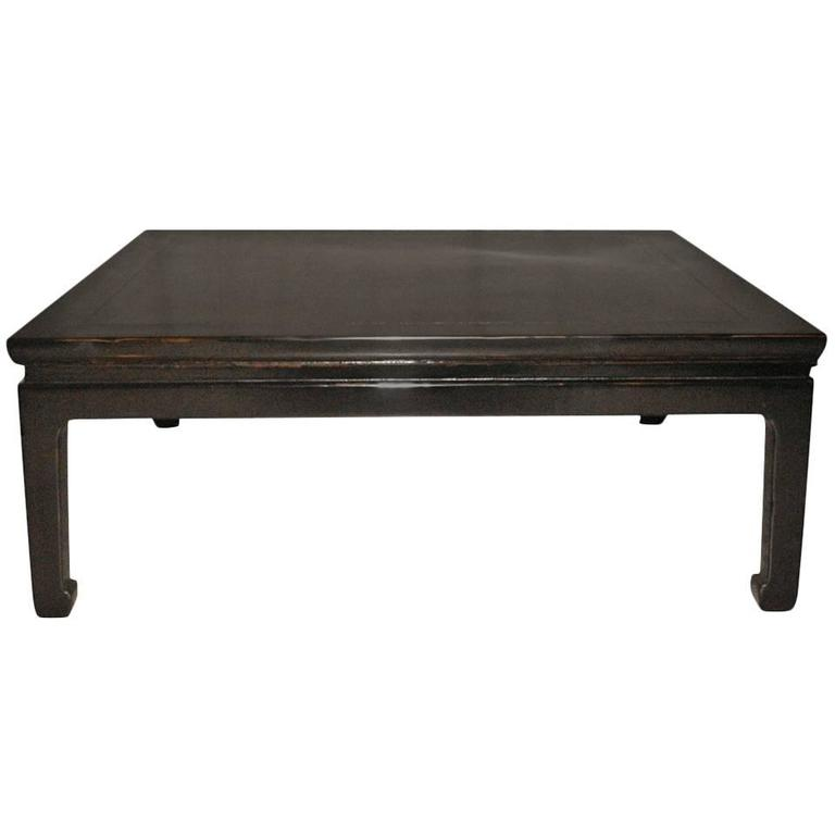 Fine square black lacquer low table at 1stdibs Low coffee table square