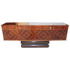 French Art Deco Exotic Macassar Ebony Sideboard or Buffet, 1940s