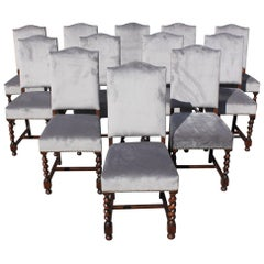 Set of 12 French Louis XIII Style Barley Twist Solid Walnut Dining Chairs, 1900s