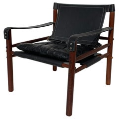 Arne Norell Sirocco Safari Chair in Black Leather
