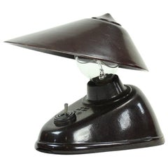 Brown Bakelite Office Lamp by Bauhaus Team, Czechoslovakia, circa 1930