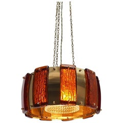 Brass Pendant with Thick Amber Glass Pieces, Danish Midcentury Design, 1960s