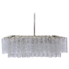 Murano Ice Glass Tubes Chandelier by Doria, Germany, 1960s