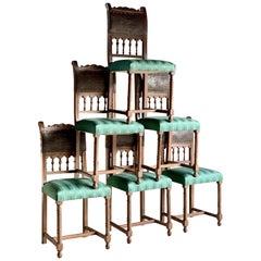 Antique Italian Dining Chairs Set of Six Oak Leather Italian, 19th Century