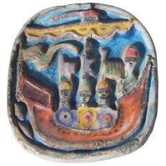 Ceramic Plate De Simone Colored 1960s Sailing Ship with Warriors