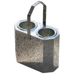 Bottle Rack in 1960 Hexagonal Polished Steel Italian Design Silver
