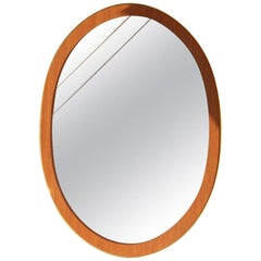 Oval Wall Mirror Wood Aluminum Golden Crystal Different Color, Italian, 1960