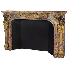 Louis XV Style Bronze-Mounted Marble Fireplace after Caffieri, circa 1860