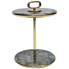 Bi-Level Blue Agate and Polished Brass Cocktail Side Table