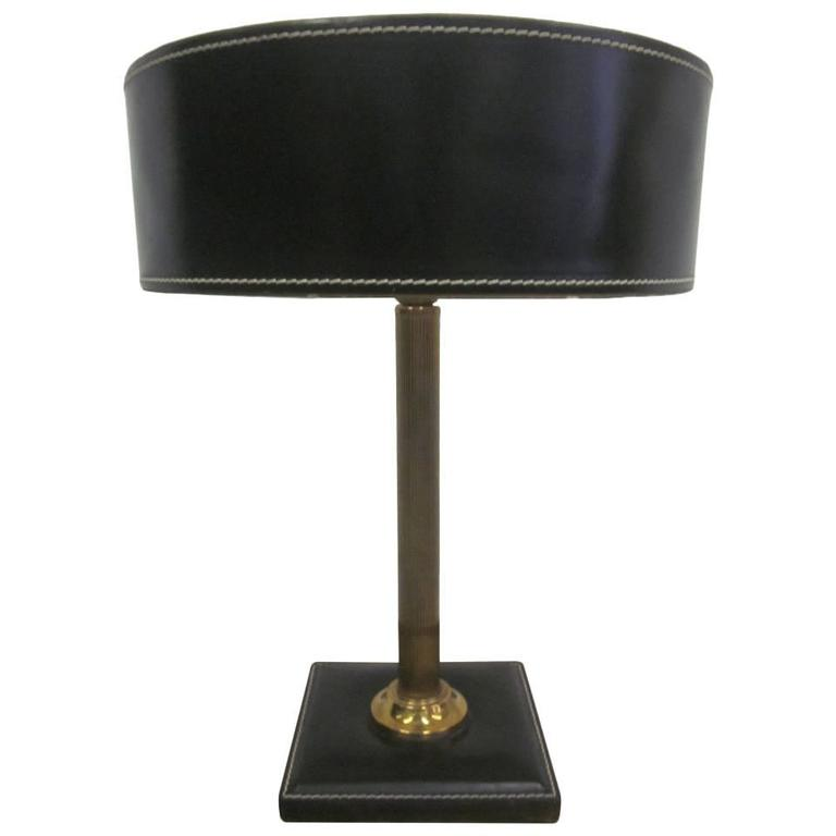 French Mid-Century Modern Hand-Stitched Leather Desk Lamp Attributed to Hermes